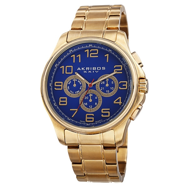 Akribos XXIV Men's Swiss Quartz Multifunction Stainless Steel Gold-Tone Bracelet Watch