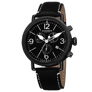 Akribos XXIV Men's Swiss Quartz Chronograph Leather Black Strap Watch