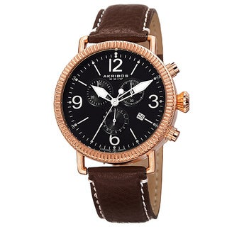 Akribos XXIV Men's Swiss Quartz Chronograph Leather Brown Strap Watch