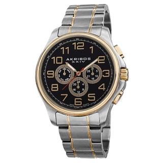 Akribos XXIV Men's Swiss Quartz Multifunction Stainless Steel Two-Tone Bracelet Watch with FREE GIFT