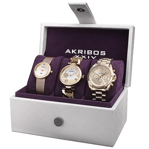 Akribos XXIV Women's Quartz Diamond Multifunction Gold-Tone Watch Set with FREE Bangle