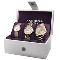 Akribos XXIV Women's Quartz Diamond Multifunction Gold-Tone Watch Set