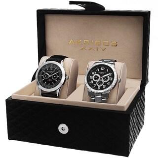 Akribos XXIV Men's Quartz Multifunction Silver-Tone Strap/Bracelet Watch Set with FREE GIFT