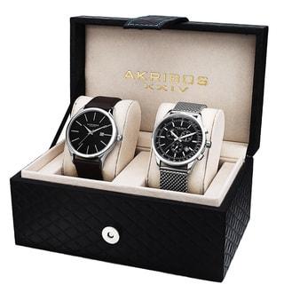 Akribos XXIV Men's Quartz Chronograph Strap/ Bracelet Watch Set