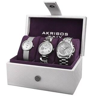 Link to Akribos XXIV Women's Quartz Diamond Multifunction Silver-Tone Watch Set Similar Items in Women's Watches
