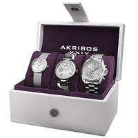 Akribos XXIV Women's Quartz Diamond Multifunction Silver-Tone Watch Set