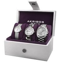 Akribos XXIV Women's Quartz Diamond Multifunction Silver-Tone Watch Set with FREE Bangle