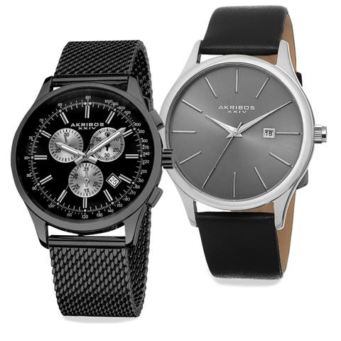 Akribos XXIV Men's Quartz Chronograph Strap/Bracelet Watch Set of 2