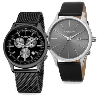 Akribos XXIV Men's Quartz Chronograph Strap/Bracelet Watch Set of 2 With Gift Box