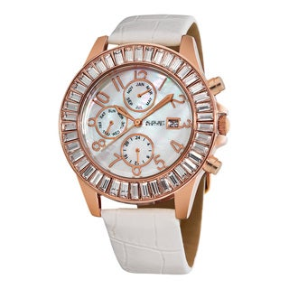 August Steiner Women's Swiss Quartz Baguette Bezel Rose-Tone Watch