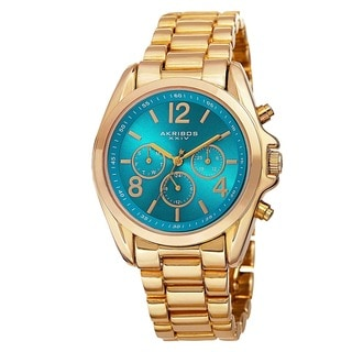 Akribos XXIV Women's Swiss Quartz Multifunction Bright-Colored Dial Gold-Tone Bracelet Watch with FREE GIFT