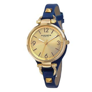 Akribos XXIV Women's Swiss Quartz Decorated Leather Thin Blue Strap Watch with FREE GIFT|https://ak1.ostkcdn.com/images/products/9306440/P16467663.jpg?impolicy=medium