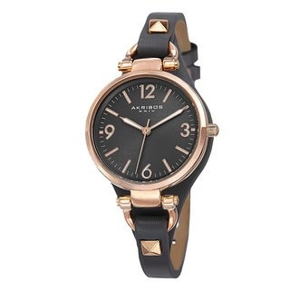 Link to Akribos XXIV Women's Swiss Quartz Decorated Leather Thin Grey Strap Watch Similar Items in Women's Watches