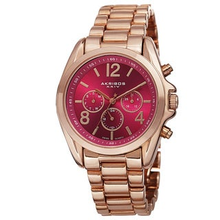 Akribos XXIV Women's Swiss Quartz Multifunction Bright-Colored Dial Rose-Tone Bracelet Watch