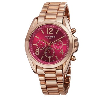 Akribos XXIV Women's Swiss Quartz Multifunction Bright-Colored Dial Rose-Tone Bracelet Watch with FREE GIFT