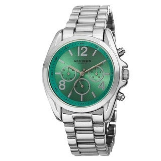 Akribos XXIV Women's Swiss Quartz Multifunction Bright-Colored Dial Silver-Tone Bracelet Watch