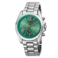 Akribos XXIV Women's Swiss Quartz Multifunction Bright-Colored Dial Silver-Tone Bracelet Watch