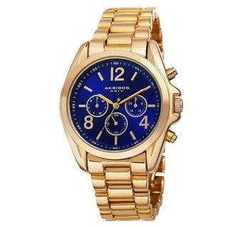 Akribos XXIV Women's Swiss Quartz Multifunction Bright-Colored Dial Gold-Tone Bracelet Watch