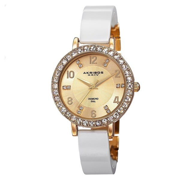 Akribos XXIV Women's Swiss Quartz Diamond-Accented Ceramic Bangle Gold-Tone Watch with FREE Bangle