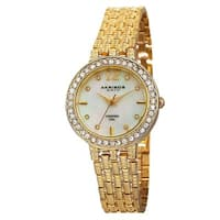 Akribos XXIV Women's Swiss Quartz Diamond-Accented Dial Gold-Tone Bracelet Watch