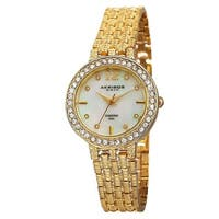 Akribos XXIV Women's Swiss Quartz Diamond-Accented Dial Gold-Tone Bracelet Watch with FREE Bangle