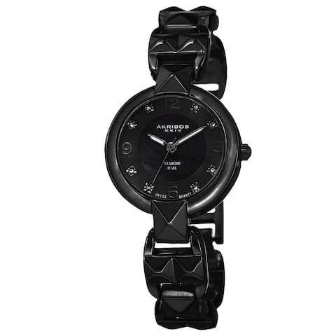 Akribos XXIV Women's Diamond-Accented Swiss Quartz Pyramid Cut Black Bracelet Watch
