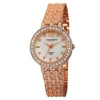 Akribos XXIV Women's Swiss Quartz Diamond-Accented Dial Rose-Tone Bracelet Watch