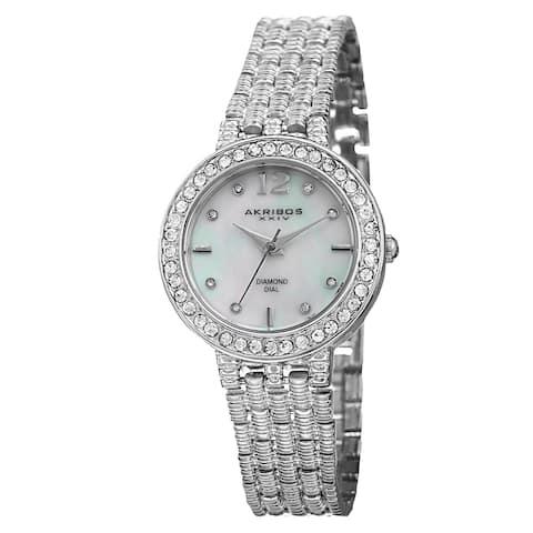 Akribos XXIV Women's Swiss Quartz Diamond-Accented Dial Silver-Tone Bracelet Watch