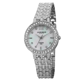 Akribos XXIV Women's Swiss Quartz Diamond-Accented Dial Silver-Tone Bracelet Watch