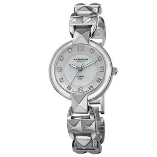 Akribos XXIV Women's Diamond-Accented Swiss Quartz Pyramid Cut Silver-Tone Bracelet Watch