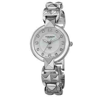 Akribos XXIV Women's Diamond-Accented Swiss Quartz Pyramid Cut Silver-Tone Bracelet Watch
