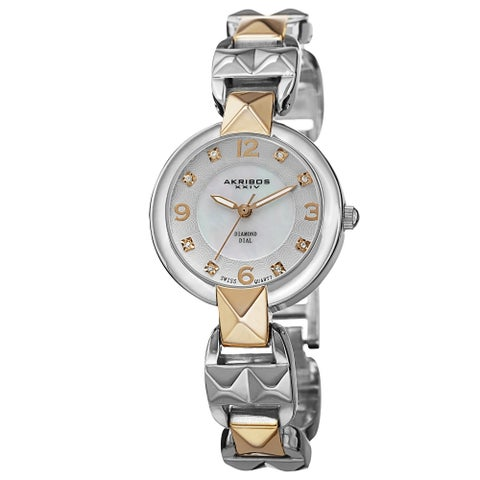 Akribos XXIV Women's Diamond-Accented Swiss Quartz Pyramid Cut Two-Tone Bracelet Watch