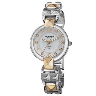 Akribos XXIV Women's Diamond-Accented Swiss Quartz Pyramid Cut Two-Tone Bracelet Watch with FREE Bangle