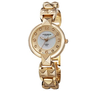 Akribos XXIV Women's Diamond-Accented Swiss Quartz Pyramid Cut Gold-Tone Bracelet Watch
