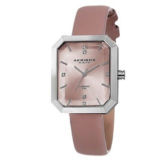 Akribos XXIV Women's Swiss Quartz Diamond Leather Pink Strap Watch