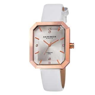 Akribos XXIV Women's Swiss Quartz Diamond Leather White Strap Watch