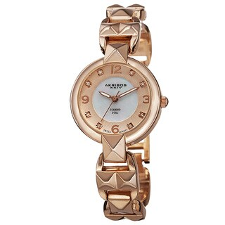 Akribos XXIV Women's Diamond-Accented Swiss Quartz Pyramid Cut Rose-Tone Bracelet Watch