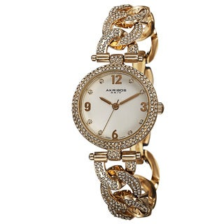 Akribos XXIV Women's Crystal-Accented Swiss Quartz Gold-Tone Bracelet Watch with FREE GIFT