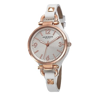Akribos XXIV Women's Swiss Quartz Decorated Leather Thin White Strap Watch