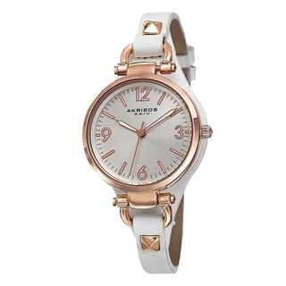 Akribos XXIV Women's Swiss Quartz Decorated Leather Thin White Strap Watch