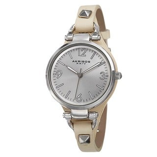 Akribos XXIV Women's Swiss Quartz Decorated Leather Thin Strap Watch