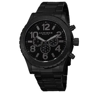 Akribos XXIV Men's Swiss Quartz Multifunction Stainless Steel Black Bracelet Watch