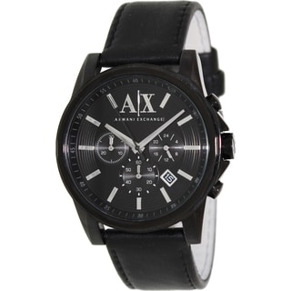 Armani Exchange Men's AX2098 Black Leather Quartz Watch