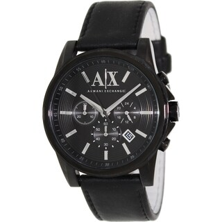 Armani Exchange Men's AX2098 Black Leather Quartz Watch