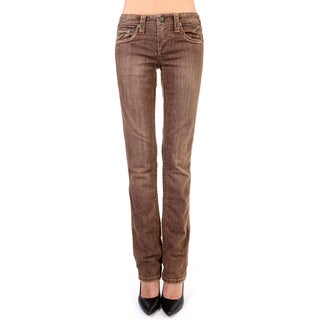 Stitch's Women's Brown Wash Straight Leg Jeans Soft Denim Pants