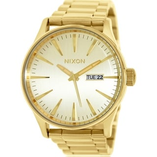 Nixon Men's Sentry Ss A356502 Goldtone Stainless Steel Quartz Watch