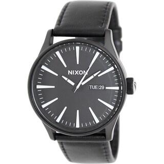 Nixon Men's Sentry A105005 Black Leather Quartz Watch