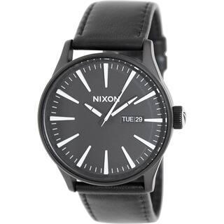Nixon Men's Sentry A105005 Black Leather Quartz Watch https://ak1.ostkcdn.com/images/products/9306617/P16467893.jpg?impolicy=medium