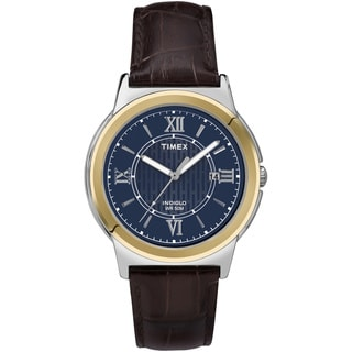 Timex Men's T2P5219J Main Street Dress Blue Dial Brown Leather Strap Watch