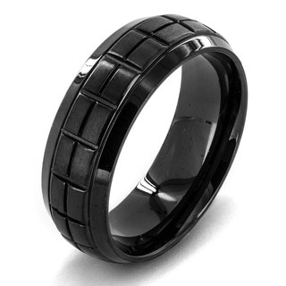 Crucible Men's Black Plated Dual Finish Stainless Steel Rectangle Pattern Grooved 8mm Wide Ring